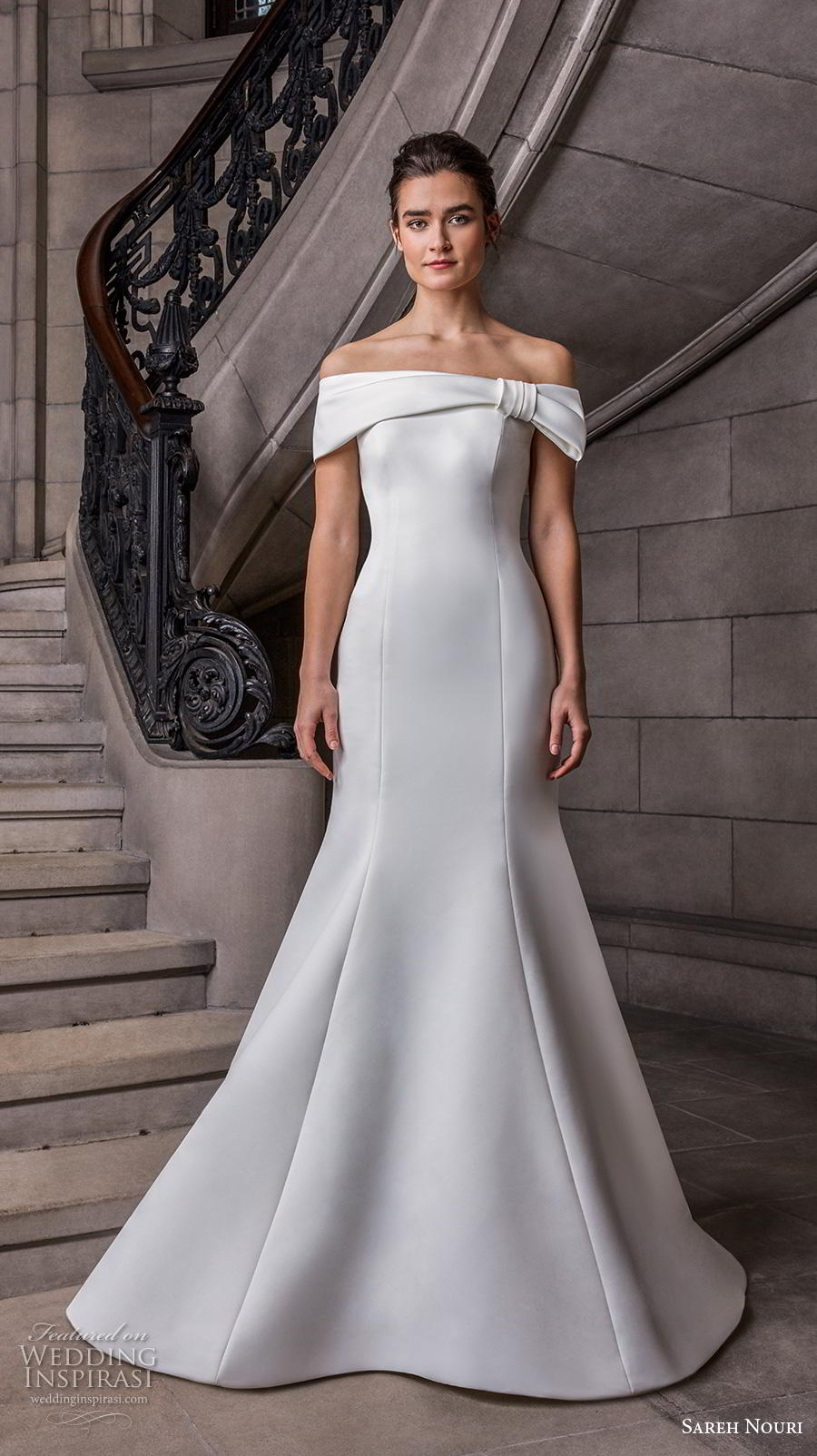 sareh nouri s2020 bridal off the shoulder straight across neckline simple minimalist elegant fit and flare wedding dress mid back chapel train (5) mv