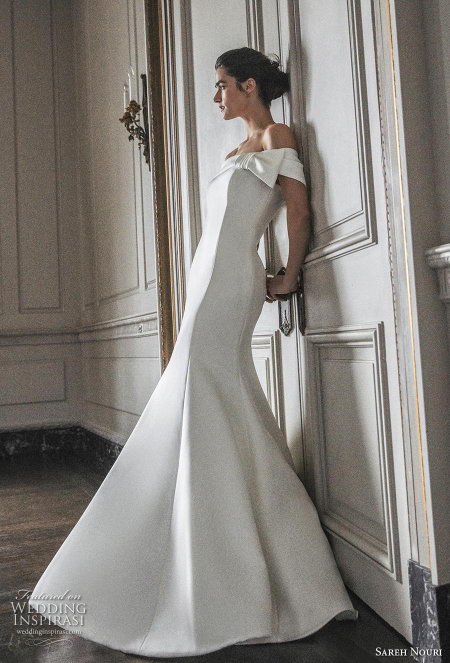 sareh nouri s2020 bridal off the shoulder straight across neckline simple minimalist elegant fit and flare wedding dress mid back chapel train (5) sdv