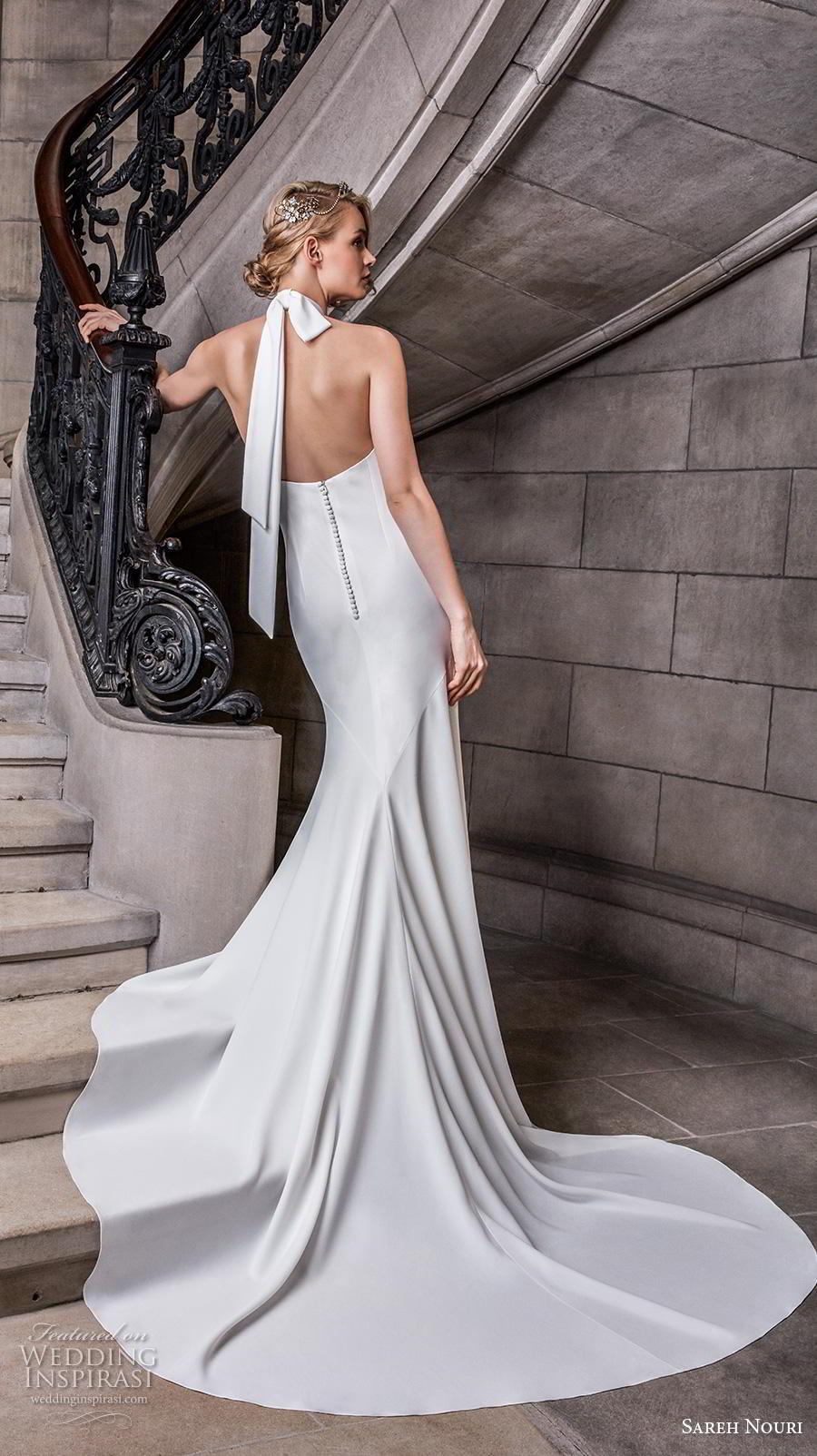 sareh nouri s2020 bridal sleeveless halter neck simple minimalist elegant sheath wedding dress backless chapel train (9) bv