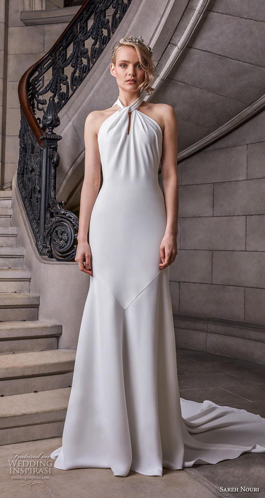 sareh nouri s2020 bridal sleeveless halter neck simple minimalist elegant sheath wedding dress backless chapel train (9) mv