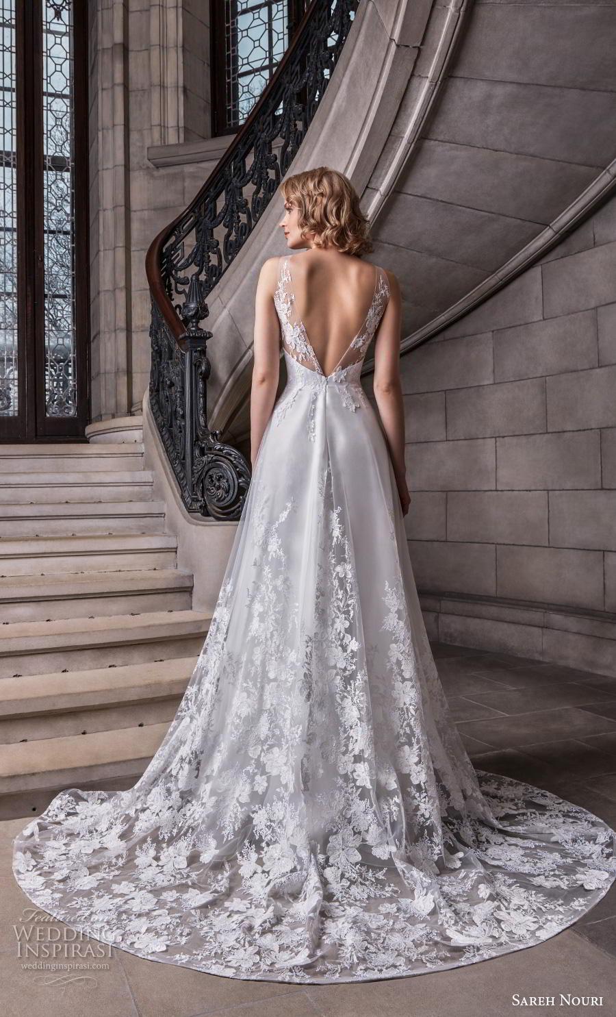 sareh nouri s2020 bridal sleeveless sheer strap v neck full embellishment romantic elegant a  line wedding dress backless v back chapel train (6) bv