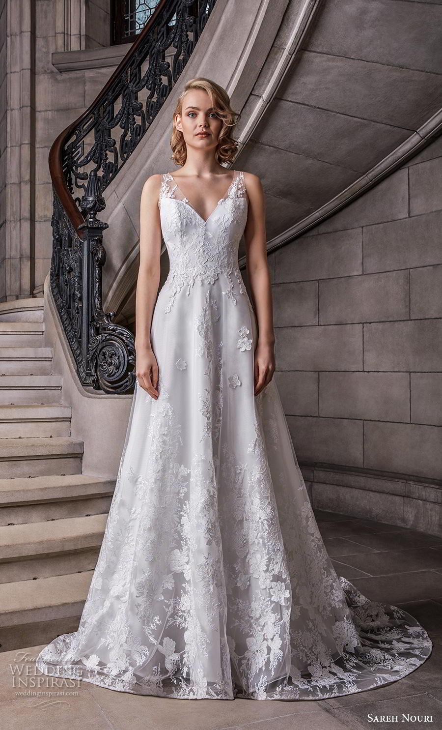 sareh nouri s2020 bridal sleeveless sheer strap v neck full embellishment romantic elegant a  line wedding dress backless v back chapel train (6) mv