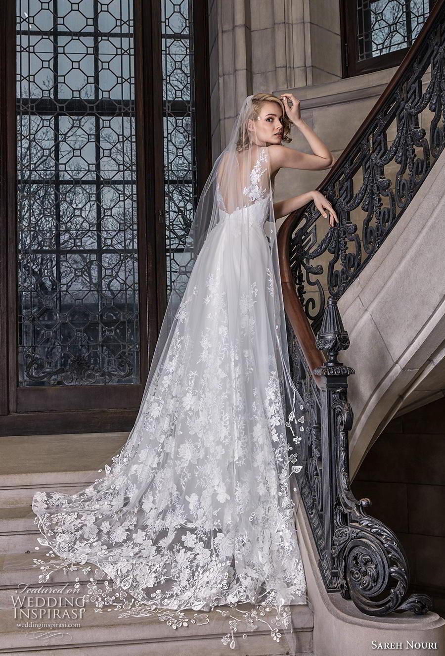 sareh nouri s2020 bridal sleeveless sheer strap v neck full embellishment romantic elegant a  line wedding dress backless v back chapel train (6) sdv
