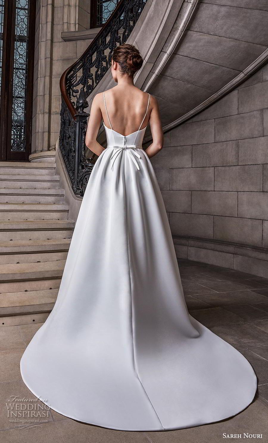 sareh nouri s2020 bridal sleeveless spaghetti strap sweetheart neckline simple minimalist elegant a  line wedding dress backless chapel train (11) bv