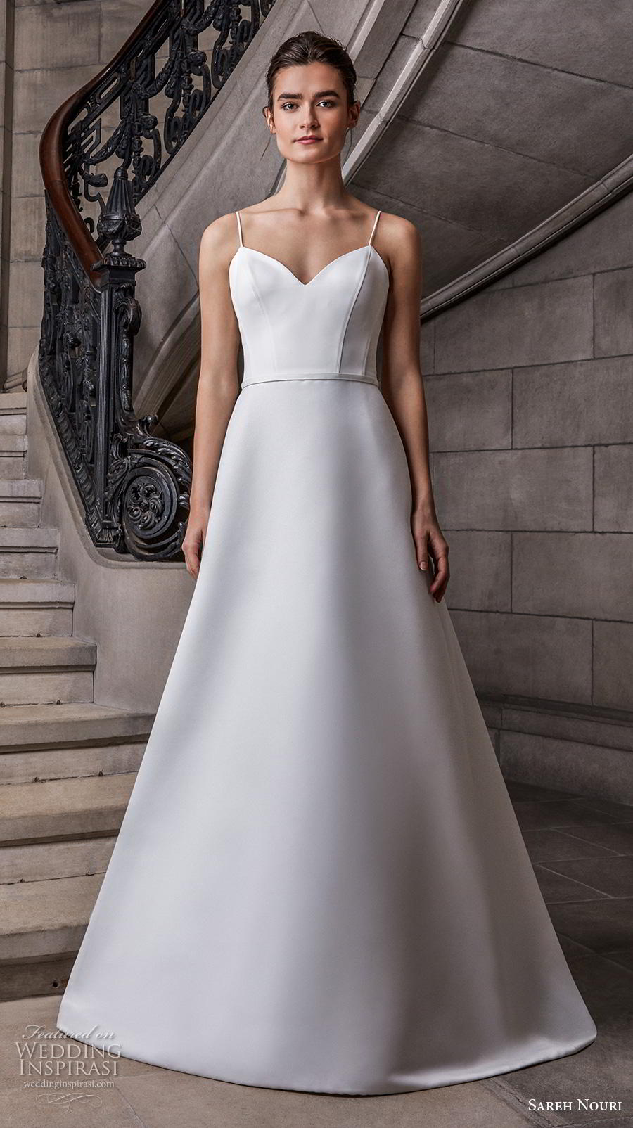 sareh nouri s2020 bridal sleeveless spaghetti strap sweetheart neckline simple minimalist elegant a  line wedding dress backless chapel train (11) mv