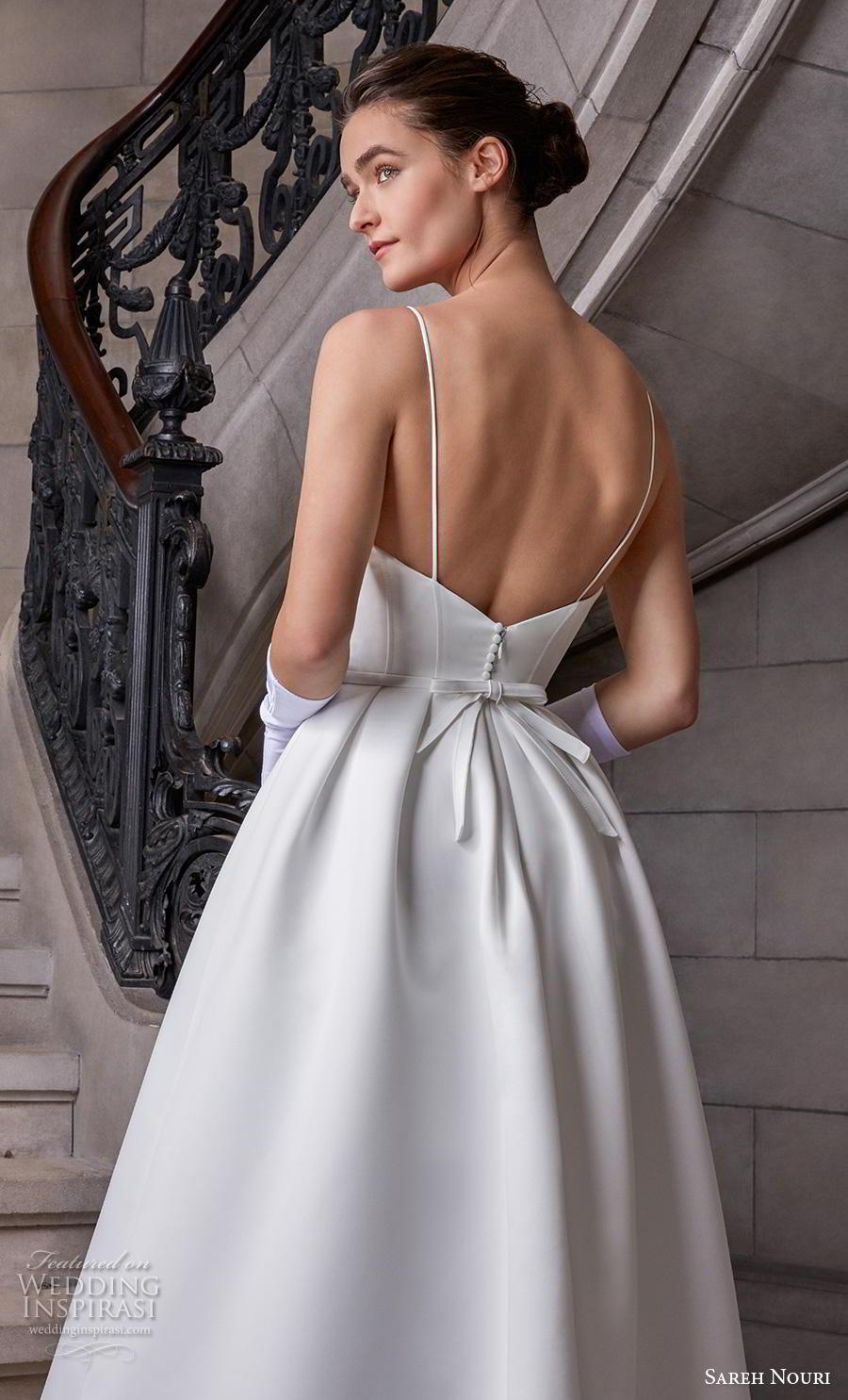 sareh nouri s2020 bridal sleeveless spaghetti strap sweetheart neckline simple minimalist elegant a  line wedding dress backless chapel train (11) zbv