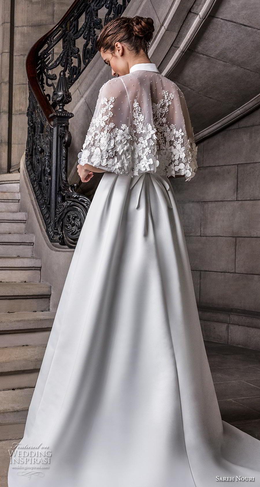 sareh nouri s2020 bridal sleeveless spaghetti strap sweetheart neckline simple minimalist elegant a  line wedding dress capelet backless chapel train (11) zbv