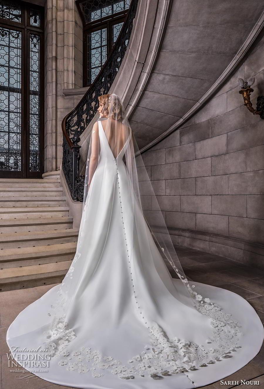 sareh nouri s2020 bridal sleeveless v neck simple minimalist elegant a  line wedding dress backless v back chapel train (7) bv