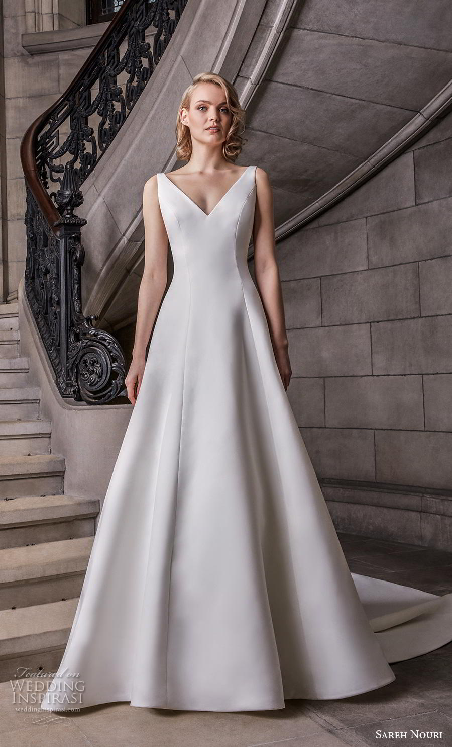 sareh nouri s2020 bridal sleeveless v neck simple minimalist elegant a  line wedding dress backless v back chapel train (7) mv