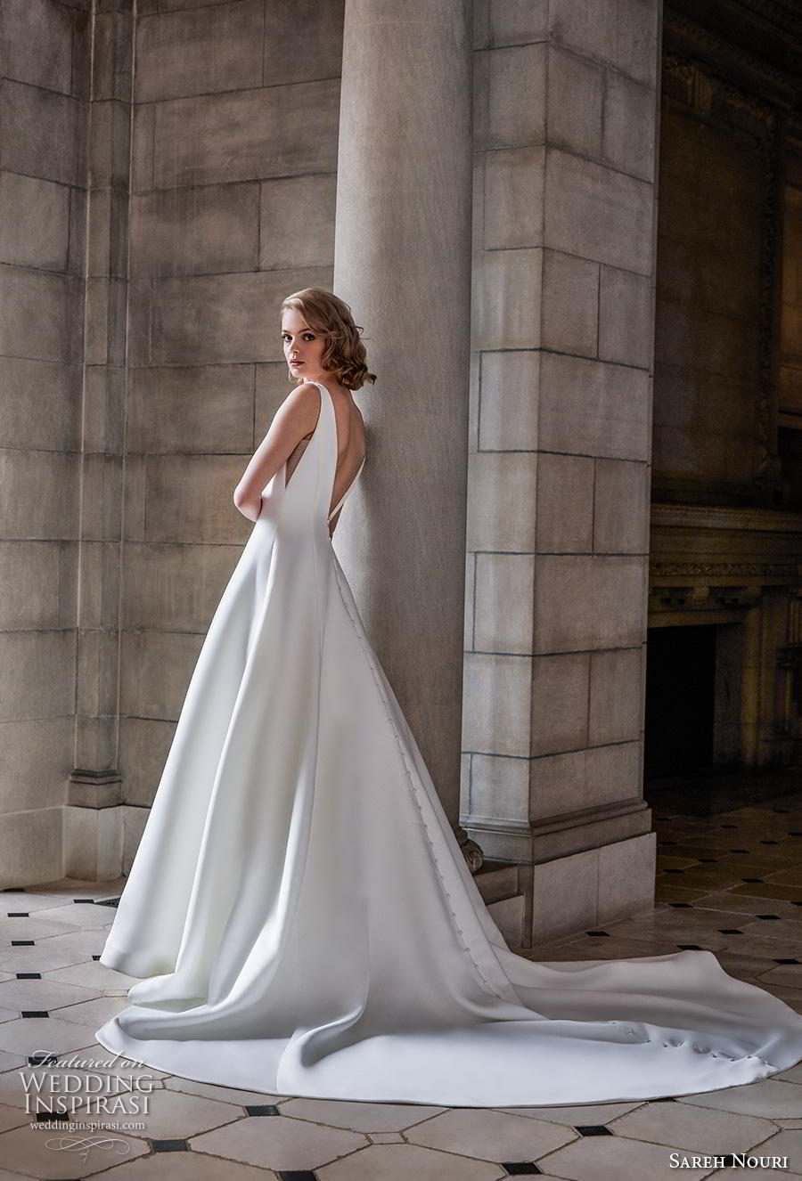 sareh nouri s2020 bridal sleeveless v neck simple minimalist elegant a  line wedding dress backless v back chapel train (7) sdv