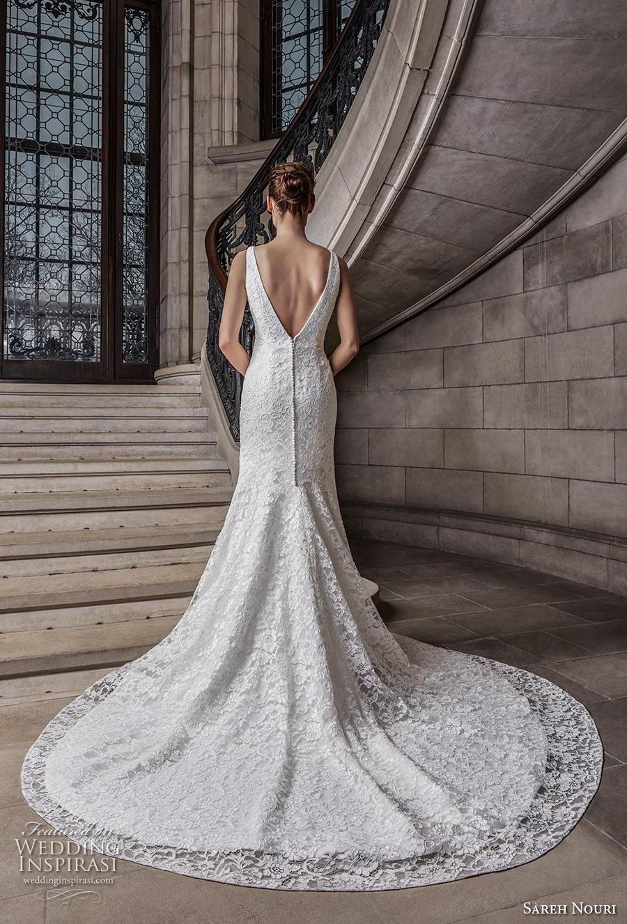 sareh nouri s2020 bridal sleeveless with strap v neck full embellishment elegant drop waist modified a  lline wedding dress backless v back chapel train (13) bv