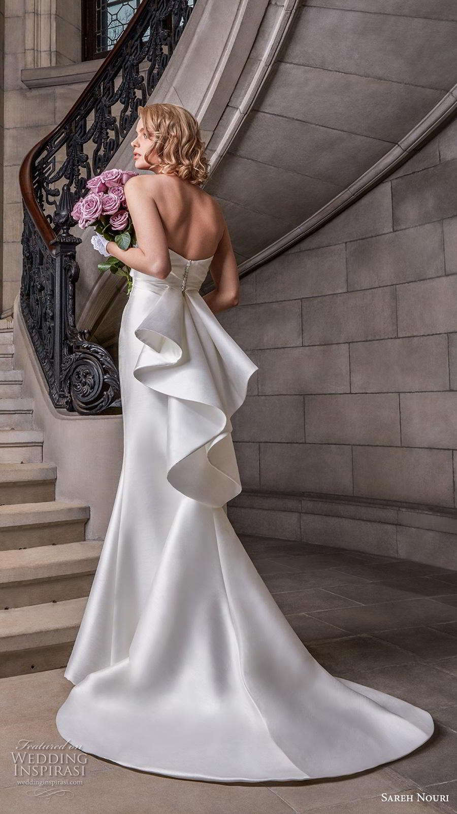 sareh nouri s2020 bridal strapless semi sweetheart neckline ruched bodice elegant fit and flare wedding dress mid back medium train (12) bv