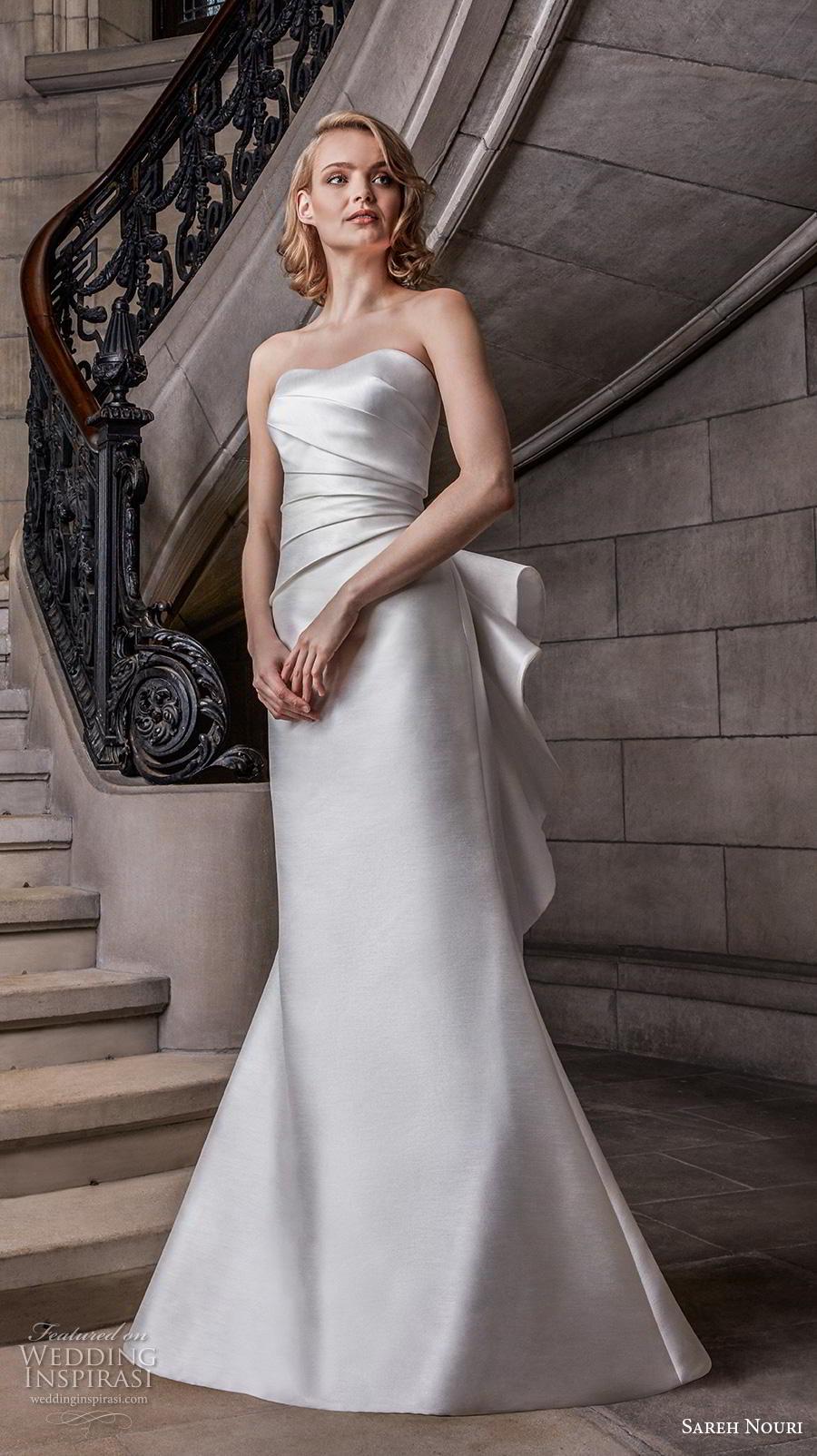 sareh nouri s2020 bridal strapless semi sweetheart neckline ruched bodice elegant fit and flare wedding dress mid back medium train (12) mv