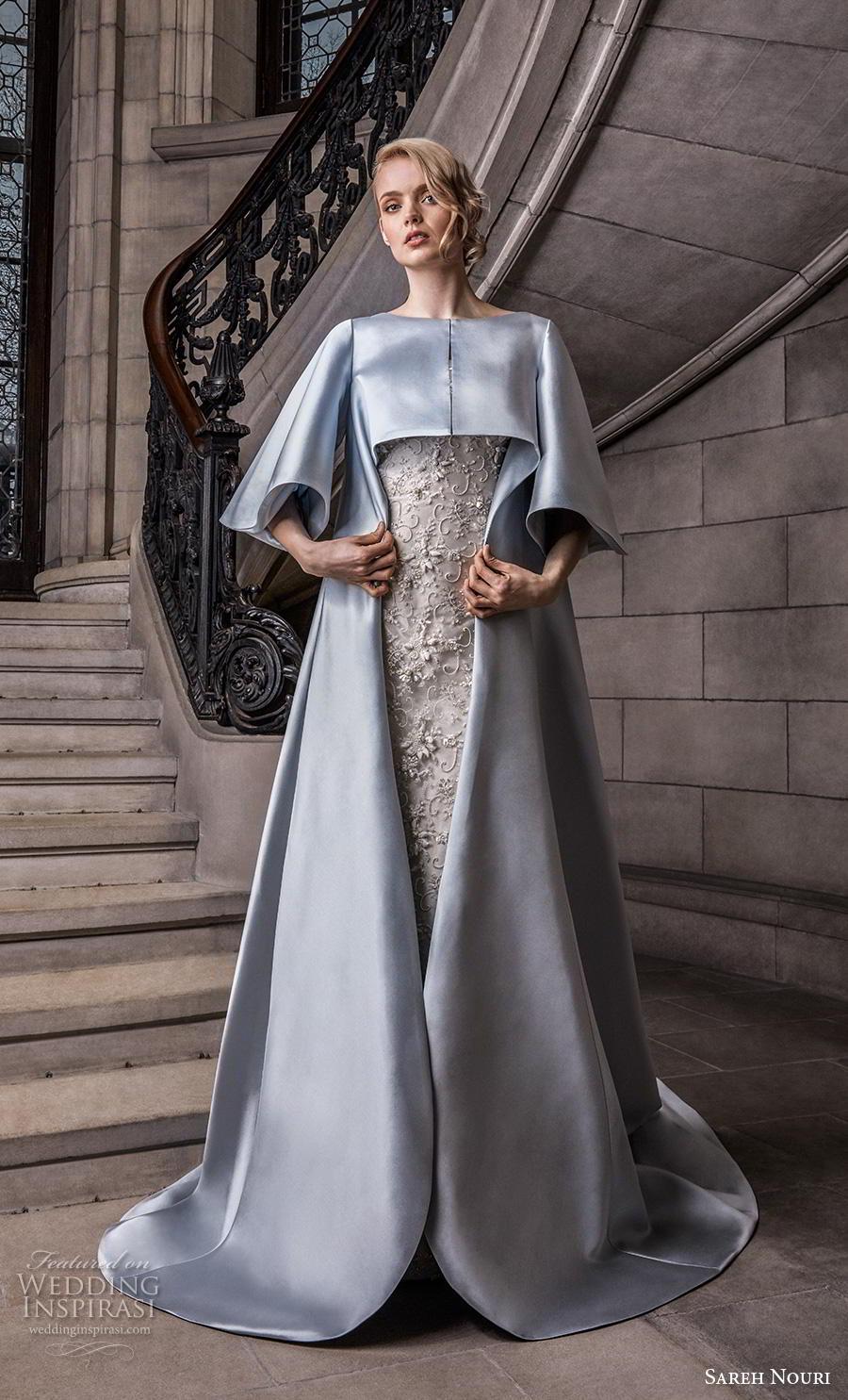 sareh nouri s2020 bridal three quarter bell sleeves bateau neckline blue cape over full embellishment sheath wedding dress chapel train (10) mv