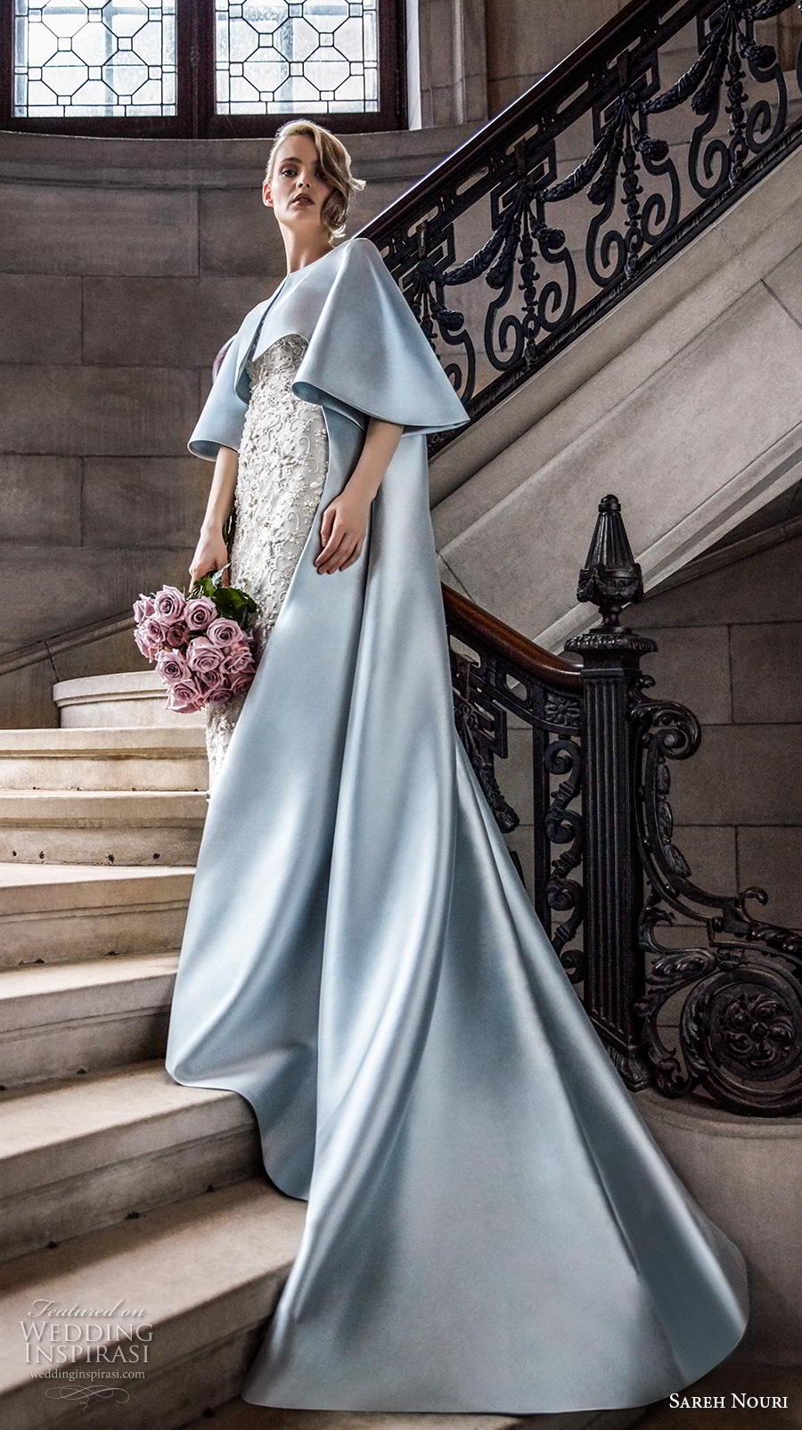sareh nouri s2020 bridal three quarter bell sleeves bateau neckline blue cape over full embellishment sheath wedding dress chapel train (10) sdv