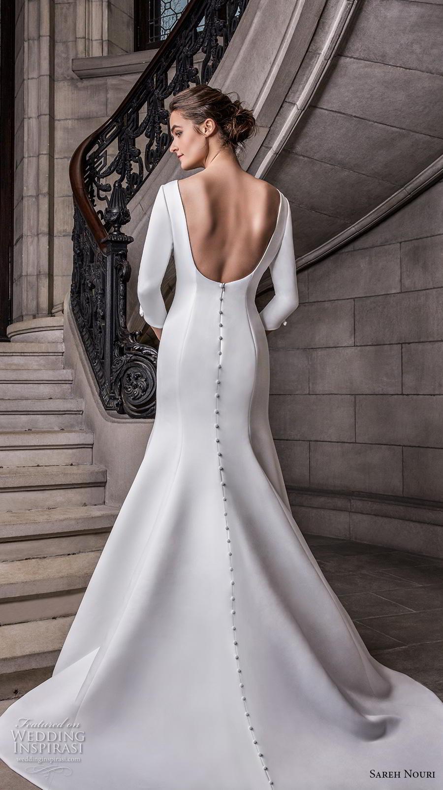 sareh nouri s2020 bridal three quarter sleeves bateau neckline simple minimalist elegant trumpet wedding dress backless scoop back chapel train (4) bv