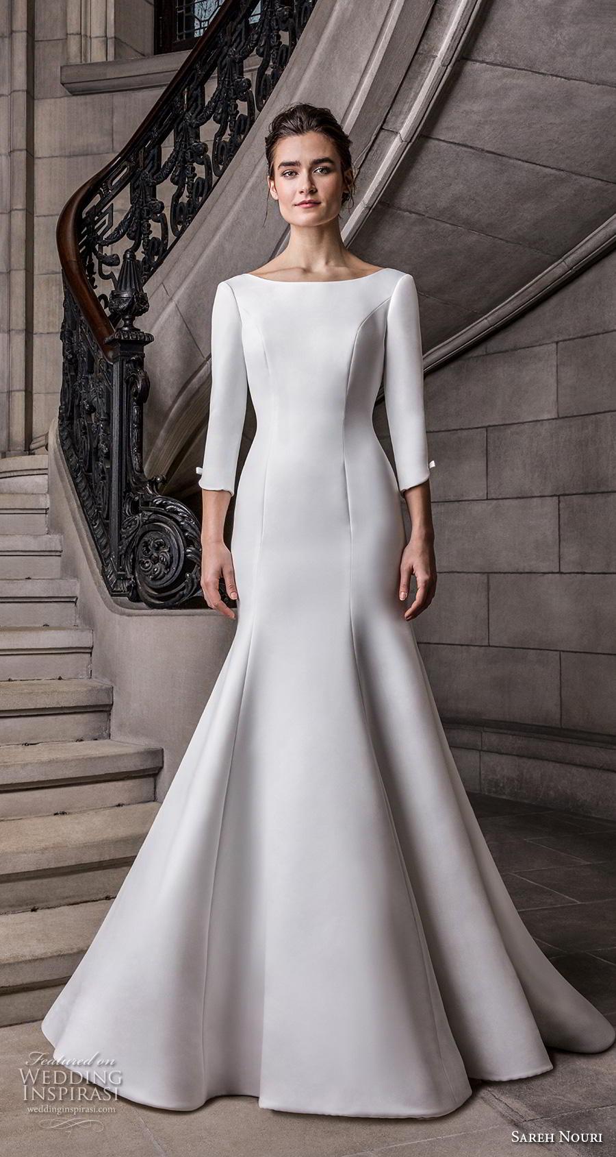 sareh nouri s2020 bridal three quarter sleeves bateau neckline simple minimalist elegant trumpet wedding dress backless scoop back chapel train (4) mv