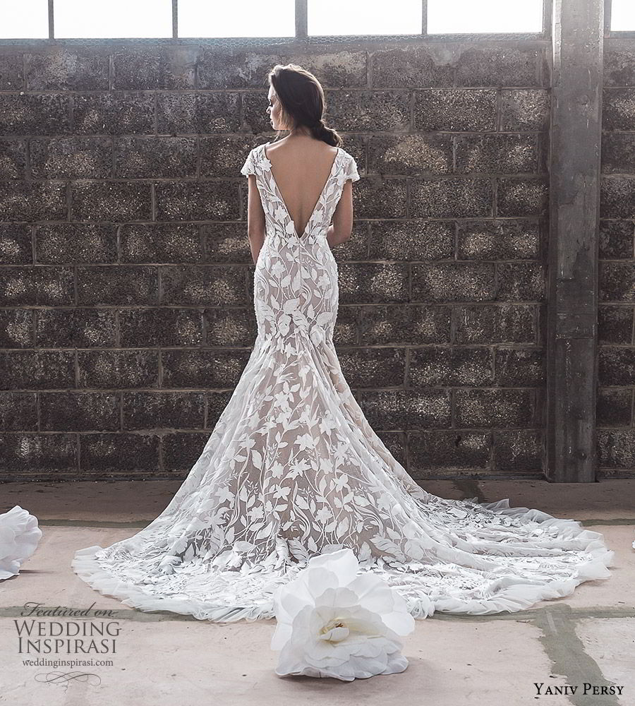yaniv persy spring 2020 bridal couture cap sleeves deep plunging v neckline heavily embellished sheath wedding dress (3) v back chapel train elegant modern bv