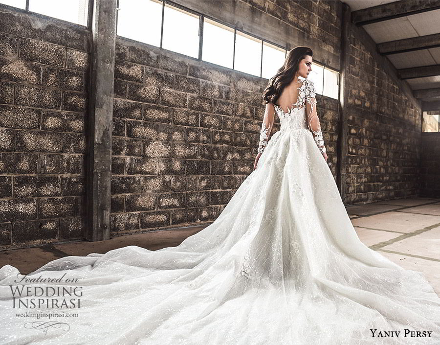 yaniv persy spring 2020 bridal couture illusion long sleeves sheer v neck sweetheart neckline heavily embellished a line ball gown wedding dress (1) cathedral train romantic bv