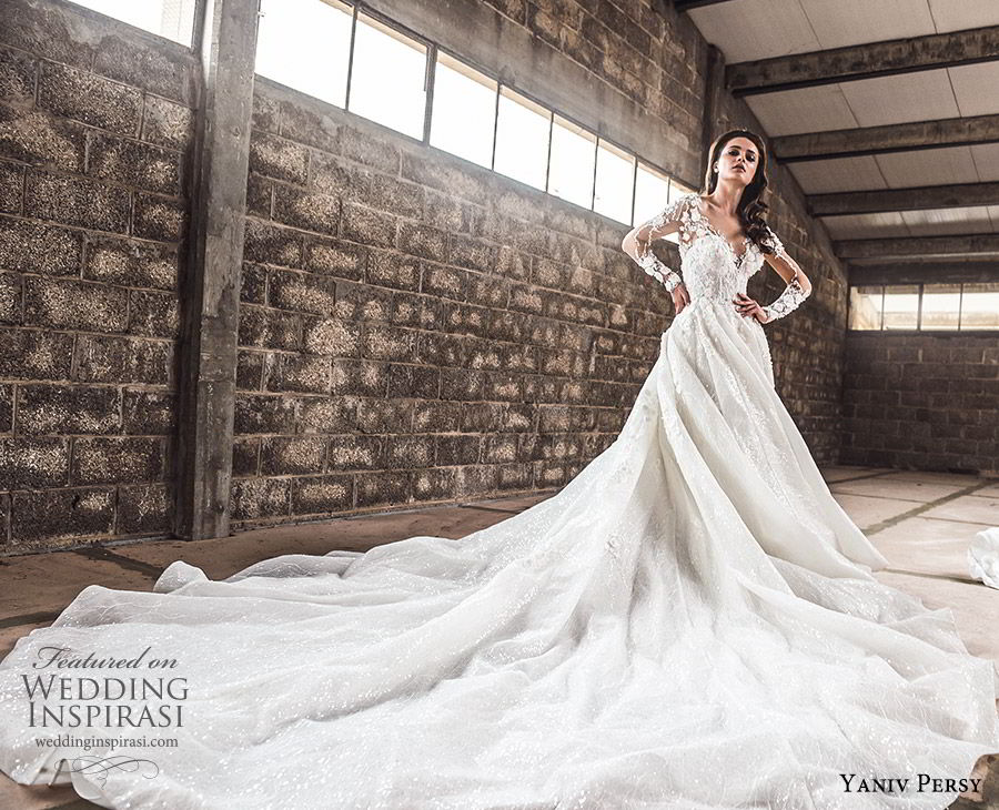 yaniv persy spring 2020 bridal couture illusion long sleeves sheer v neck sweetheart neckline heavily embellished a line ball gown wedding dress (1) cathedral train romantic mv