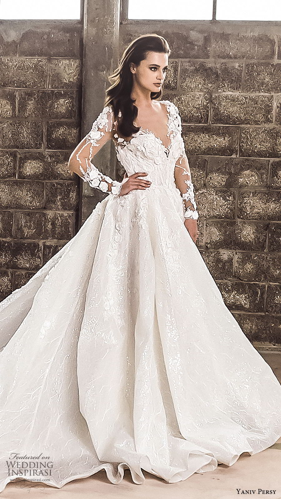yaniv persy spring 2020 bridal couture illusion long sleeves sheer v neck sweetheart neckline heavily embellished a line ball gown wedding dress (1) cathedral train romantic sv