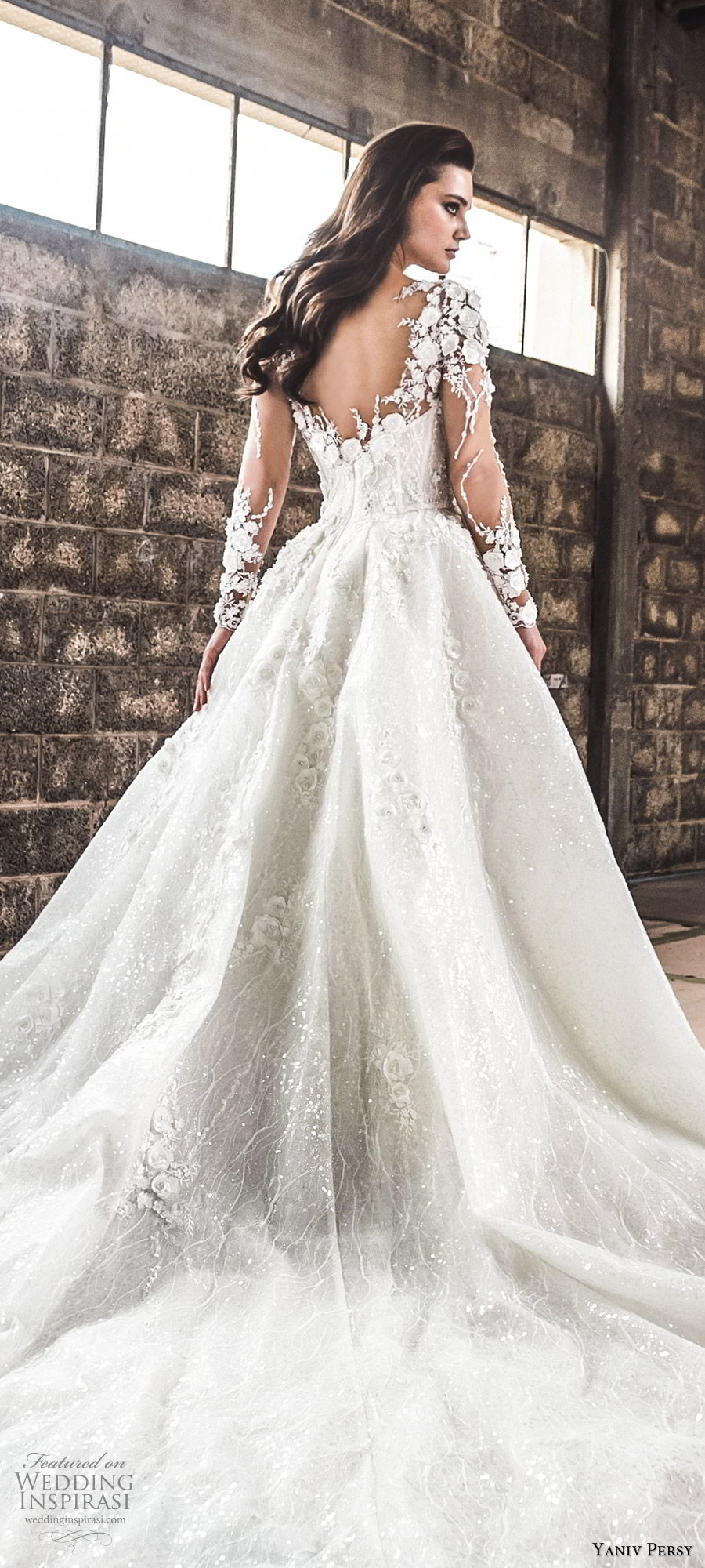 yaniv persy spring 2020 bridal couture illusion long sleeves sheer v neck sweetheart neckline heavily embellished a line ball gown wedding dress (1) cathedral train romantic zbv