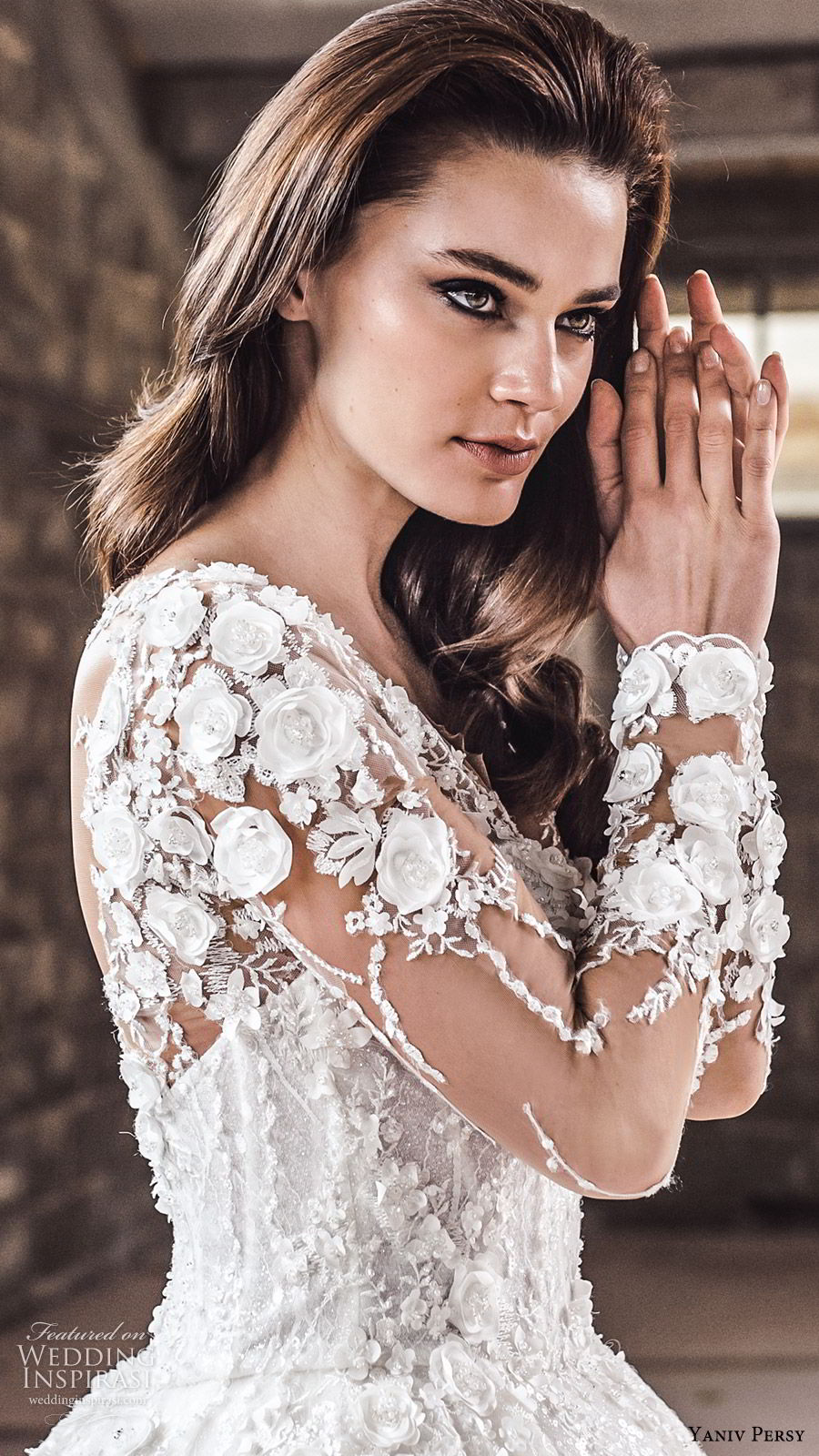 yaniv persy spring 2020 bridal couture illusion long sleeves sheer v neck sweetheart neckline heavily embellished a line ball gown wedding dress (1) cathedral train romantic zsv
