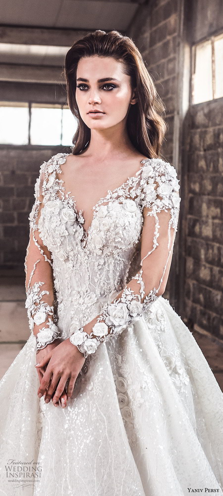 yaniv persy spring 2020 bridal couture illusion long sleeves sheer v neck sweetheart neckline heavily embellished a line ball gown wedding dress (1) cathedral train romantic zv