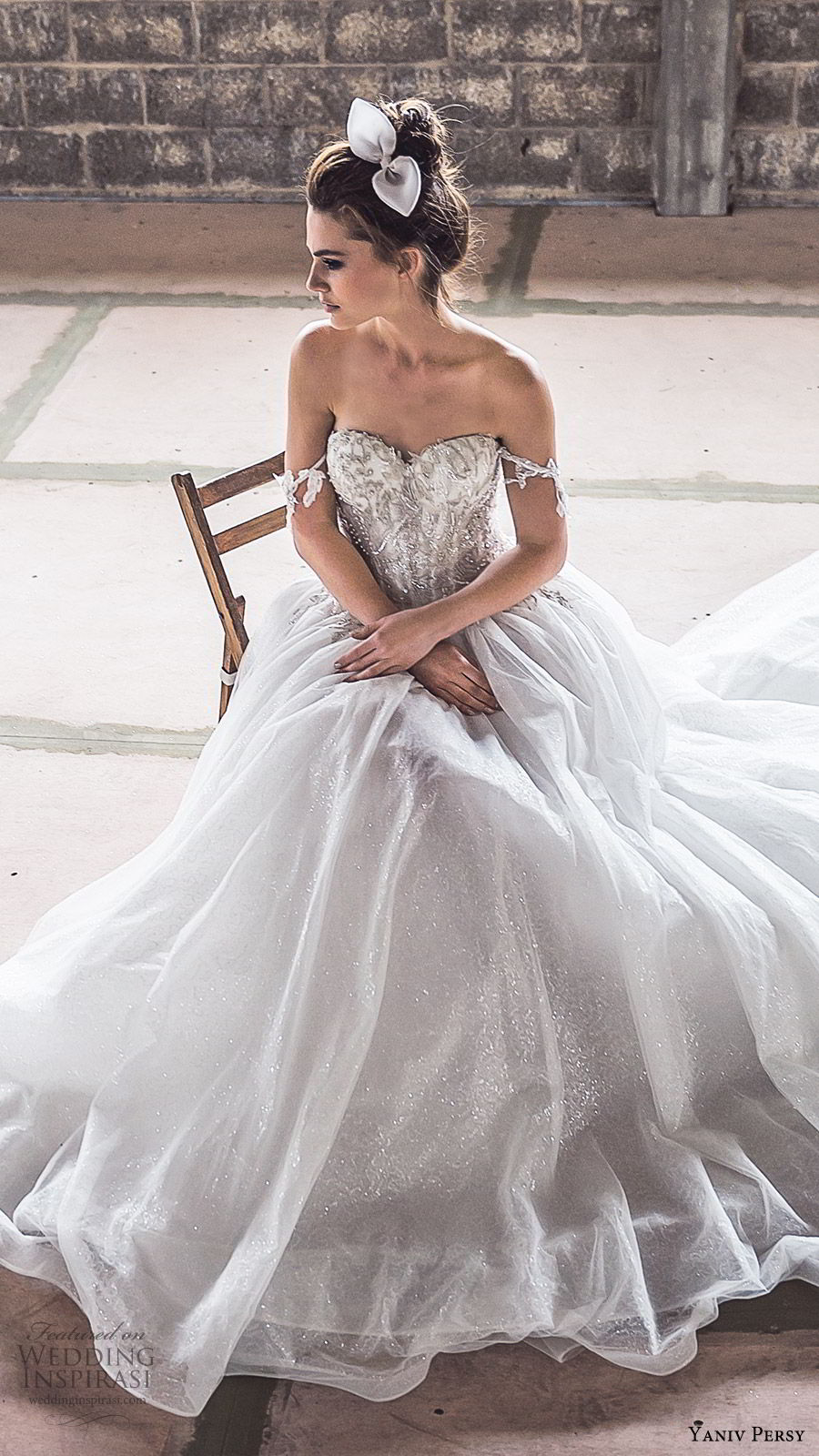 yaniv persy spring 2020 bridal couture off shoulder sweetheart embellished bodice a line ball gown wedding dress (5) cathedral train romantic princess mv