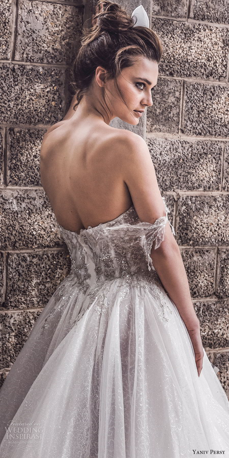yaniv persy spring 2020 bridal couture off shoulder sweetheart embellished bodice a line ball gown wedding dress (5) cathedral train romantic princess zbv