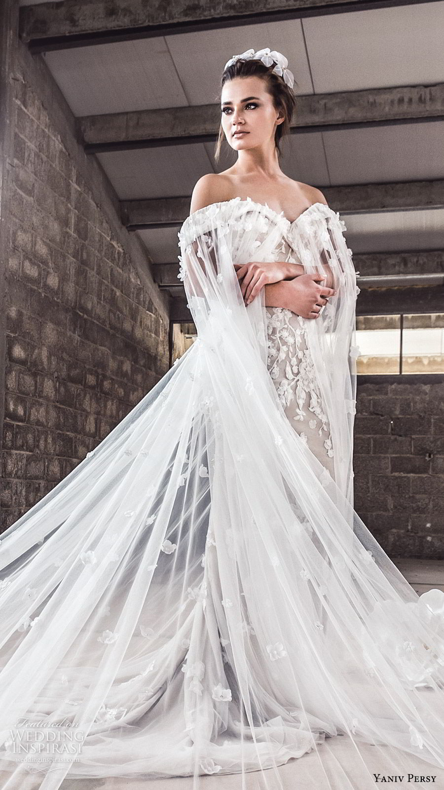 yaniv persy spring 2020 bridal couture off shoulder sweetheart neckline fully embellished trumpet sheath wedding dress (2) sheer cape chapel trian modern elegant mv
