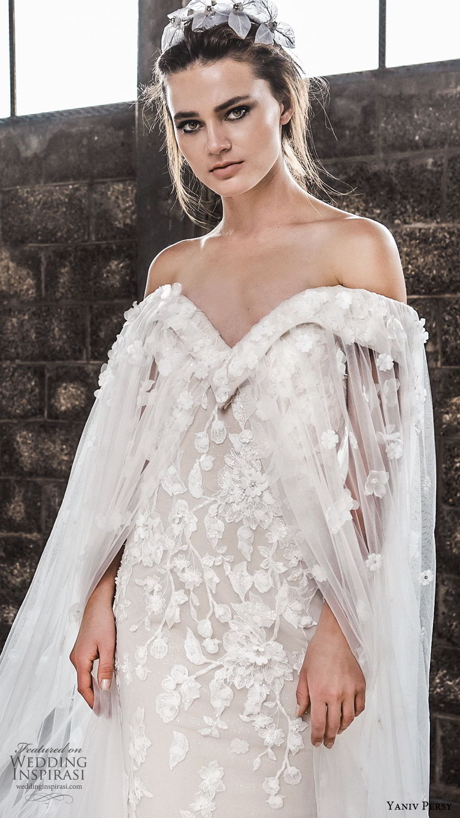 yaniv persy spring 2020 bridal couture off shoulder sweetheart neckline fully embellished trumpet sheath wedding dress (2) sheer cape chapel trian modern elegant zv