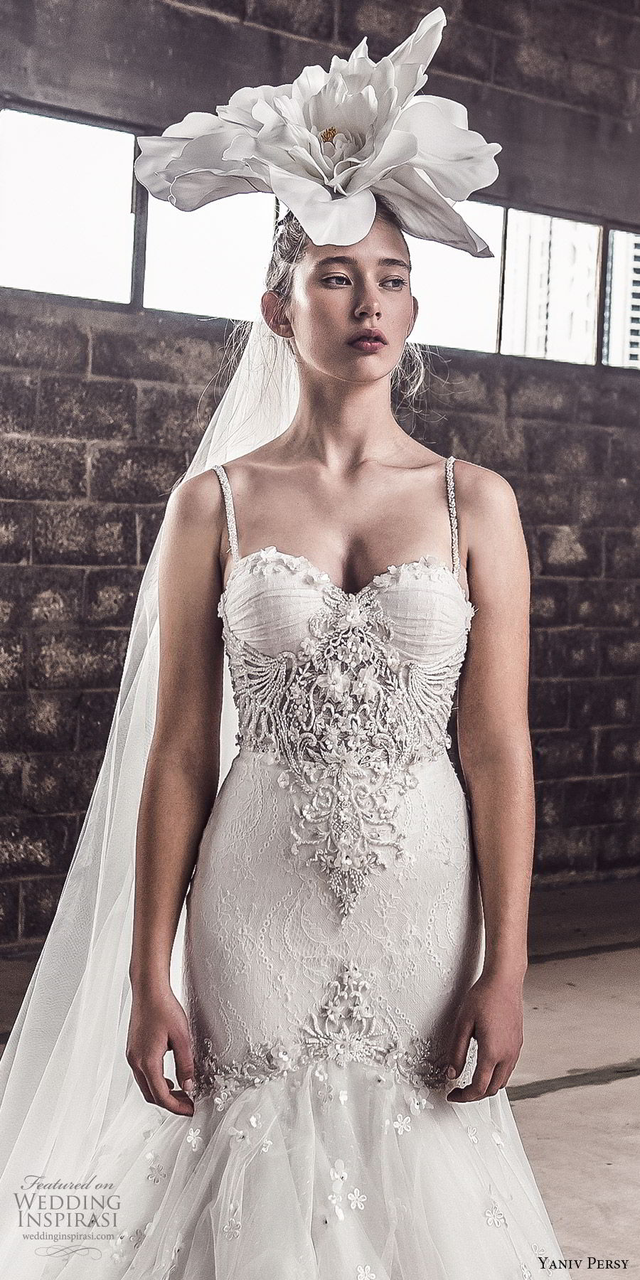 yaniv persy spring 2020 bridal couture sleeveless beaded straps sweetheart neckline embellished bodice fit flare mermaid wedding dress (7) elegant modern chapel train zv