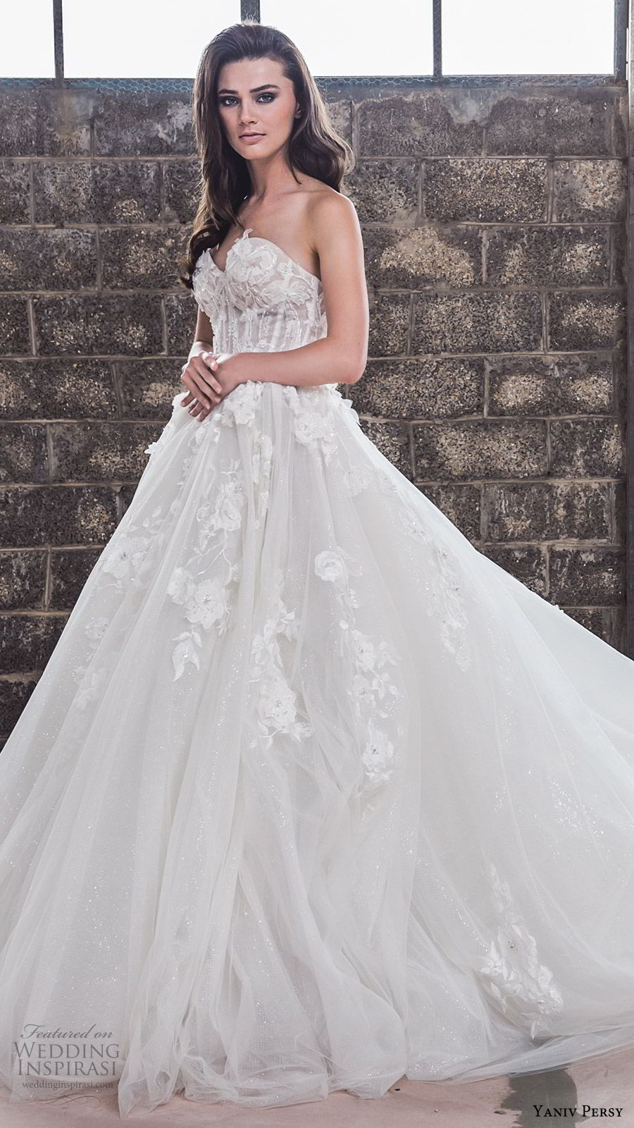 yaniv persy spring 2020 bridal couture strapless sweetheart neckline embellished bodice a line ball gown wedding dress (4) chapel train elegant romantic mv