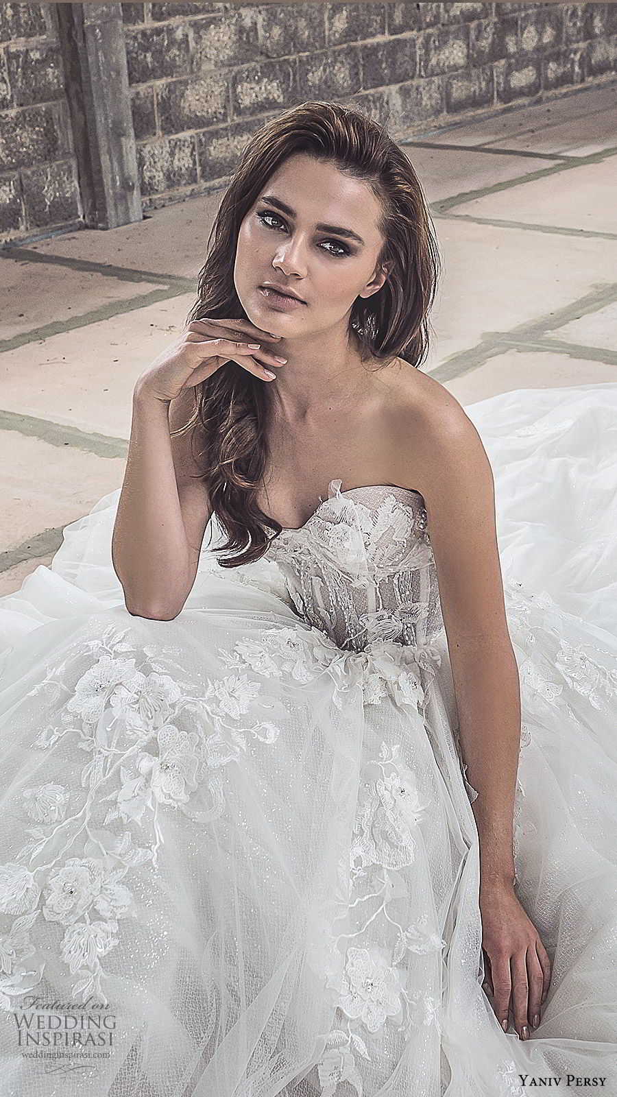 yaniv persy spring 2020 bridal couture strapless sweetheart neckline embellished bodice a line ball gown wedding dress (4) chapel train elegant romantic zv