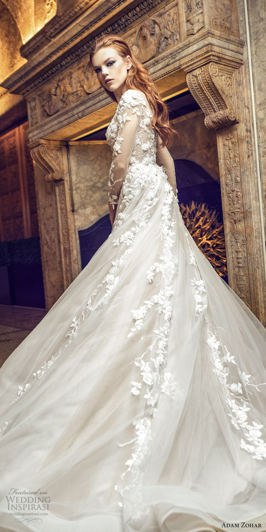 adam zohar 2020 bridal illusion long slseeves sweetheart neckline embellished bodice a line ball gown wedding dress (1) blush romantic elegant chapel train bv