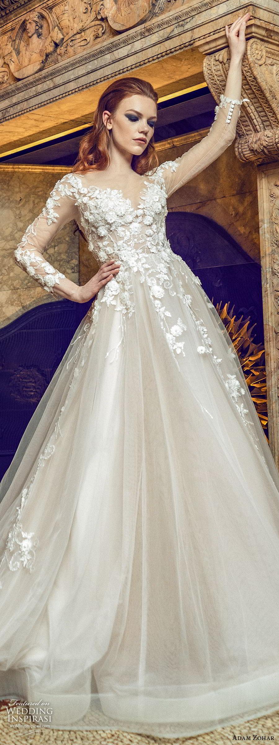 adam zohar 2020 bridal illusion long slseeves sweetheart neckline embellished bodice a line ball gown wedding dress (1) blush romantic elegant chapel train lv