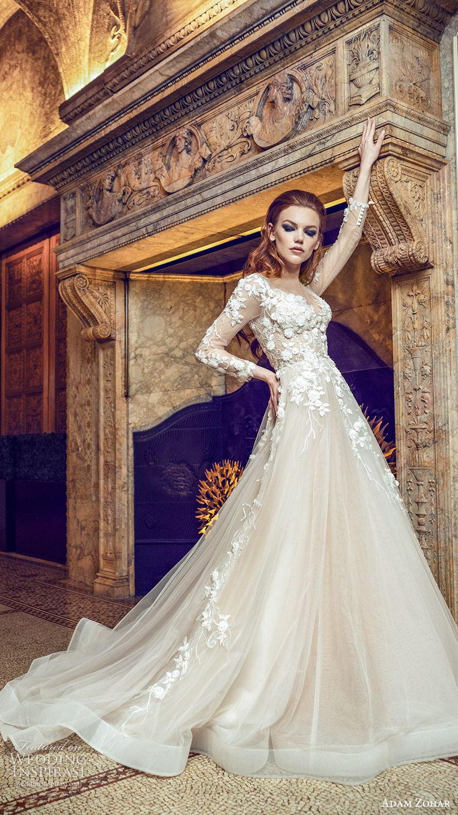adam zohar 2020 bridal illusion long slseeves sweetheart neckline embellished bodice a line ball gown wedding dress (1) blush romantic elegant chapel train mv