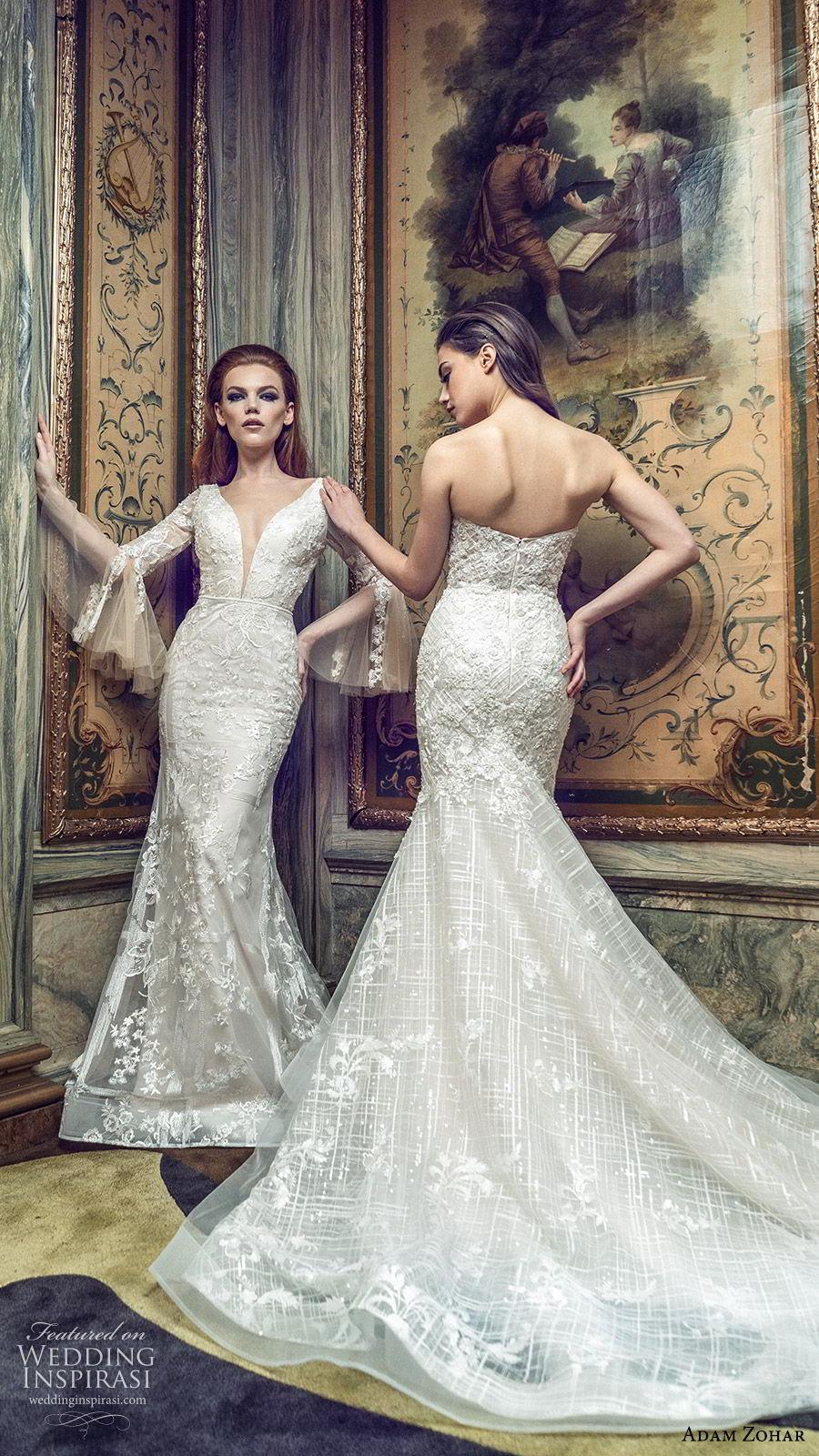 adam zohar 2020 bridal long bell sleeves deep v neckline fully embellished lace sheath mermaid wedding dress (3) boho chic romantic chapel train fv