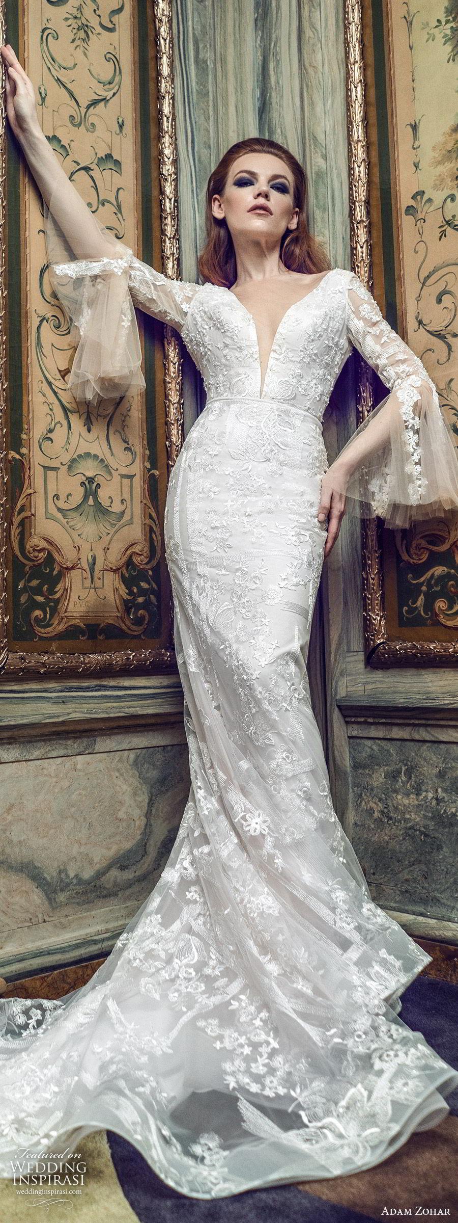 adam zohar 2020 bridal long bell sleeves deep v neckline fully embellished lace sheath mermaid wedding dress (3) boho chic romantic chapel train lv
