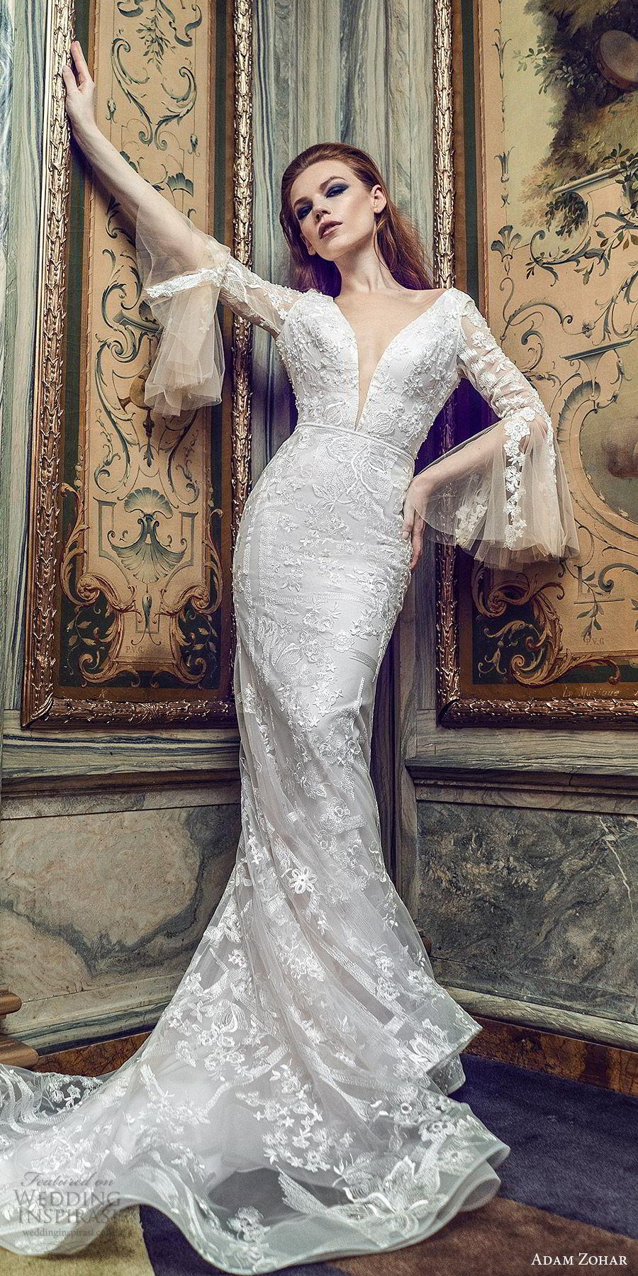 adam zohar 2020 bridal long bell sleeves deep v neckline fully embellished lace sheath mermaid wedding dress (3) boho chic romantic chapel train mv