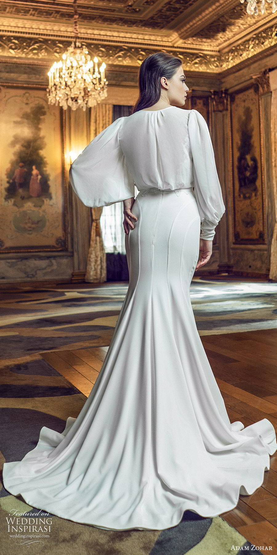 adam zohar 2020 bridal long bishop sleeves surplice v neckline blouson sheath wedding dress (7) elegant vintage swepe train bv
