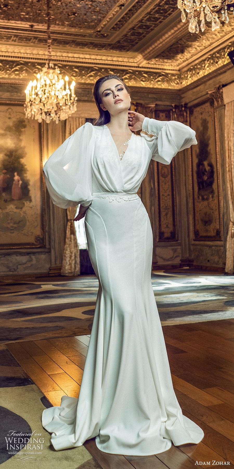 adam zohar 2020 bridal long bishop sleeves surplice v neckline blouson sheath wedding dress (7) elegant vintage swepe train mv