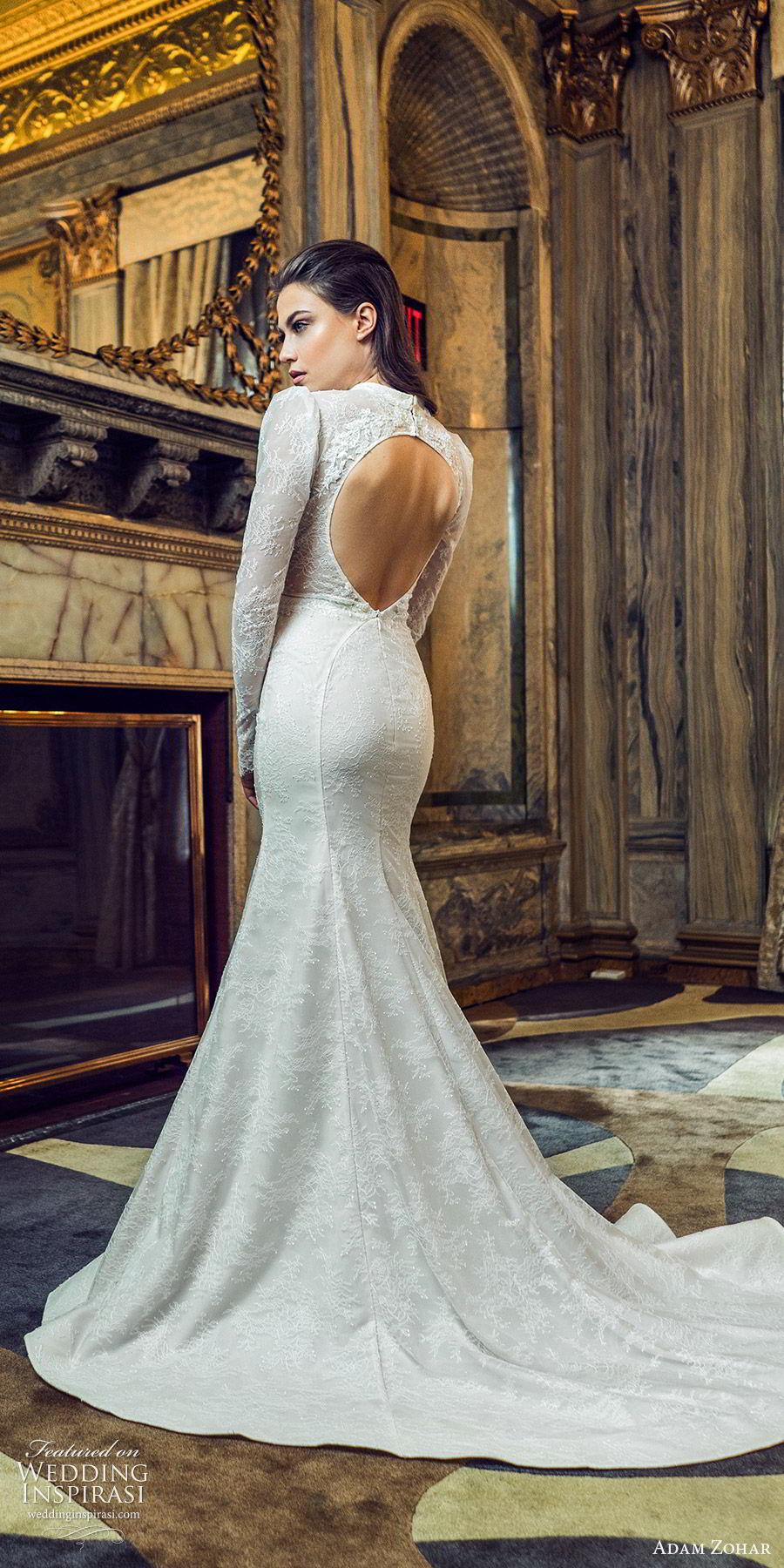 adam zohar 2020 bridal long puff sleeves high neck cutout deep v neckline fully lace mermaid fit flare wedding dress (14) vintage romantic chapel train cutout back bv