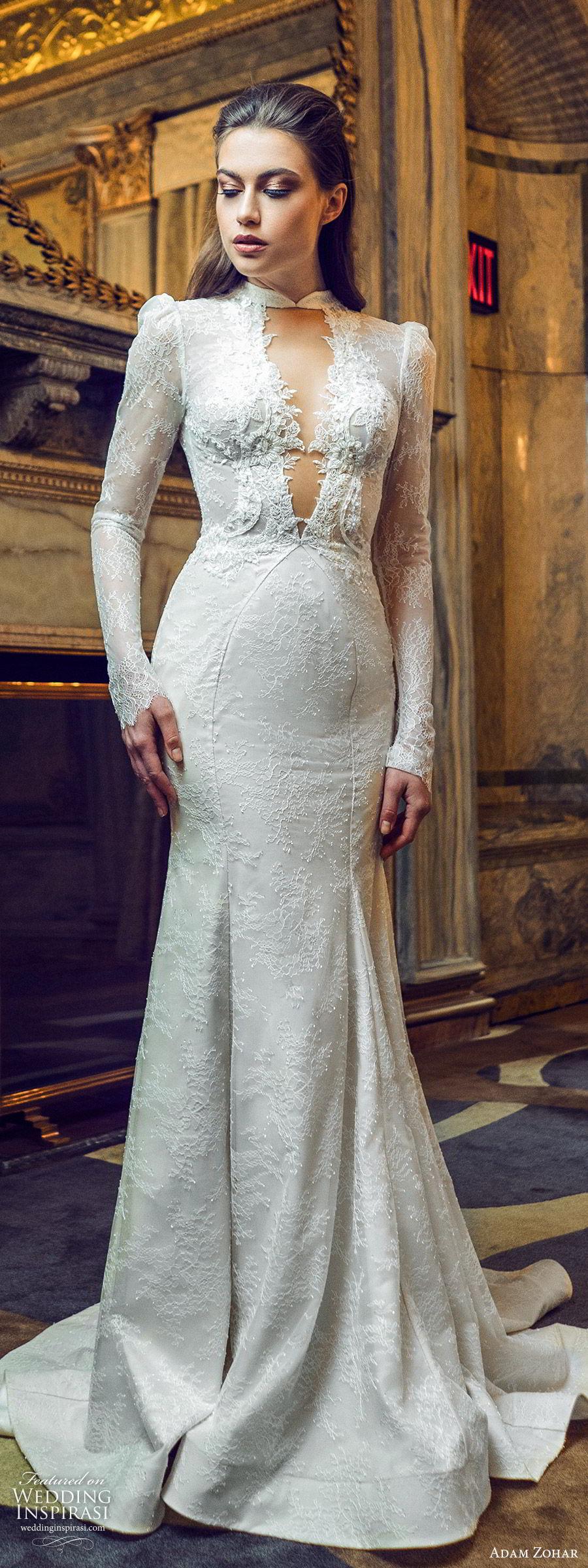 adam zohar 2020 bridal long puff sleeves high neck cutout deep v neckline fully lace mermaid fit flare wedding dress (14) vintage romantic chapel train mv