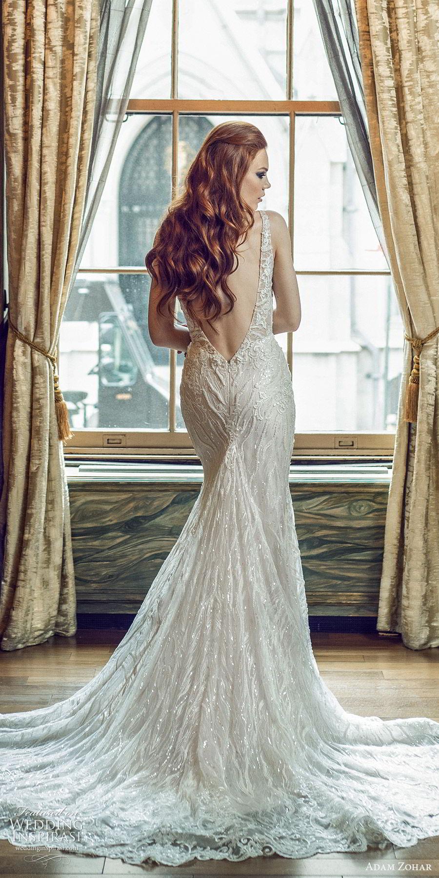 adam zohar 2020 bridal sleeveless deep v neckline fully embellished mermaid fit flare sheath wedding dress (6) elegant glam chapel train bv
