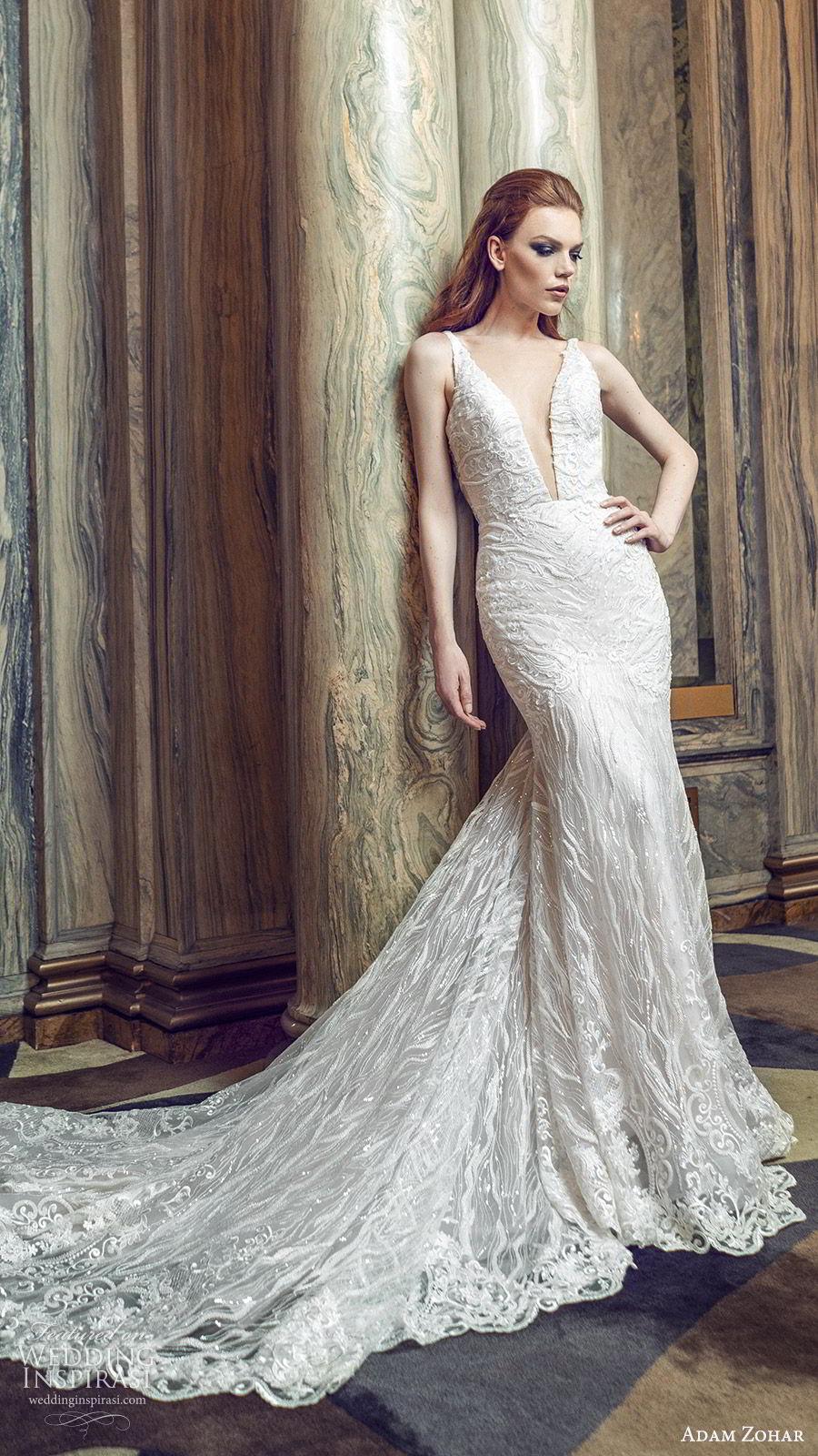 adam zohar 2020 bridal sleeveless deep v neckline fully embellished mermaid fit flare sheath wedding dress (6) elegant glam chapel train mv