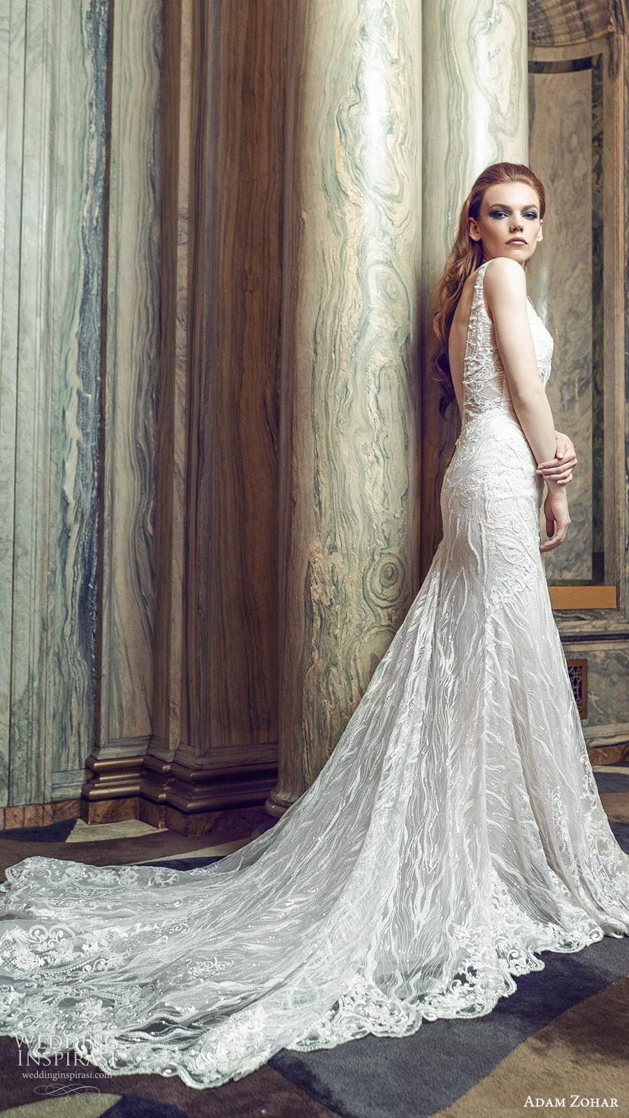adam zohar 2020 bridal sleeveless deep v neckline fully embellished mermaid fit flare sheath wedding dress (6) elegant glam chapel train sv