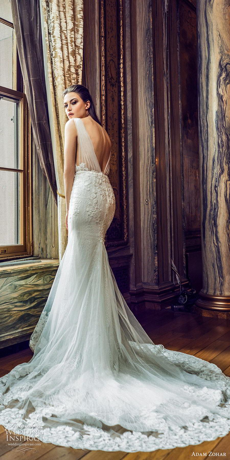 adam zohar 2020 bridal sleeveless ruched straps deep v neckline fully embellished lace mermaid sheath fit flare wedding dress (13) elegant glitzy glam chapel train bv