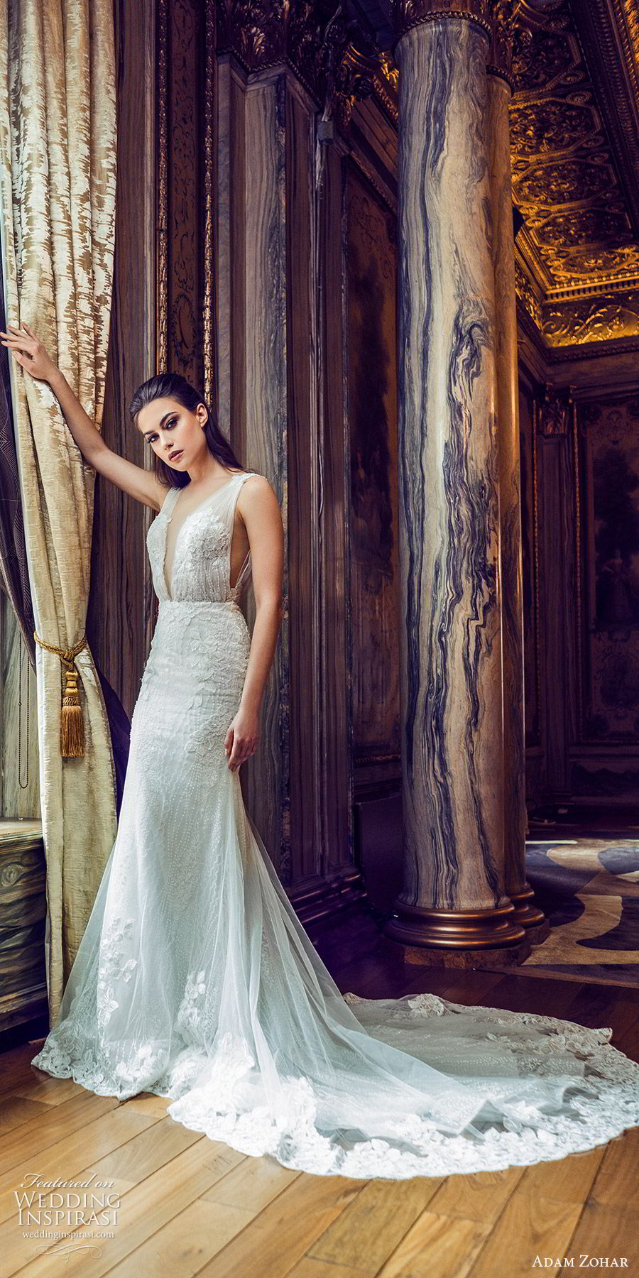 adam zohar 2020 bridal sleeveless ruched straps deep v neckline fully embellished lace mermaid sheath fit flare wedding dress (13) elegant glitzy glam chapel train mv